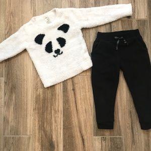 Oshkosh Fuzzy Panda Sweater and Black Joggers 3T
